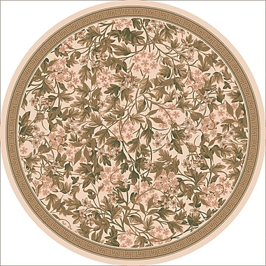 Milliken Pastiche Delphi Floral Sand Brown Rug; Round 7'7''
