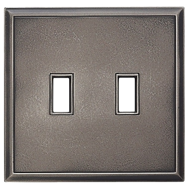 RQ Home Classic Magnetic Double Toggle Wall Plate; Timeworn Steel