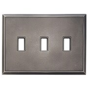 RQ Home Classic Magnetic Triple Toggle Wall Plate; Timeworn Steel