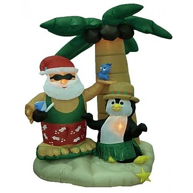 BZB Goods Christmas Inflatable Santa Claus on Vacation Decoration