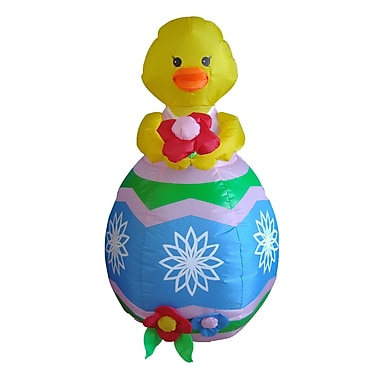 BZB Goods Easter Inflatable Chick w/ Flower Decoration