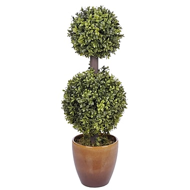 House of Silk Flowers Artificial Double Ball Topiary in Planter
