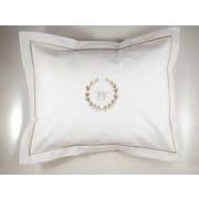 Jacaranda Living Bee Wreath Percale Cotton Pillow Cover; Beige
