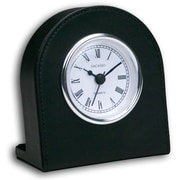 Dacasso 1000 Series Classic Leather Clock w/ Silver Insert in Black