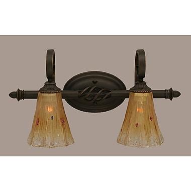 Toltec Lighting Elegante 2-Light Vanity Light; Amber