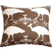 The Well Dressed Bed Peacock Accent Cotton Throw Pillow; Brown