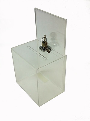 Buddy Products® Small Acrylic Locking Collection Box, Clear