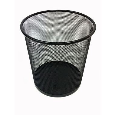 Buddy Products Round Mesh Stainless Steel Trash Can without Lid, Black
