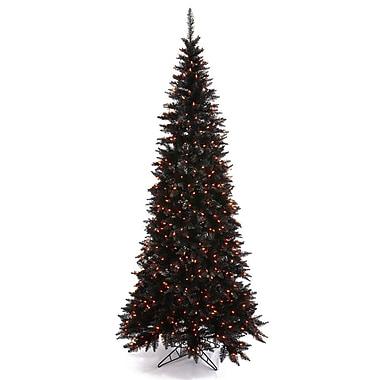 Vickerman 9' Black Slim Fir Artificial Christmas Tree w/ 700 Mini Orange Lights