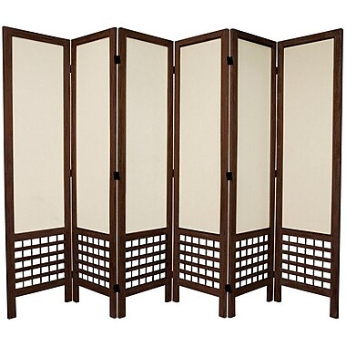 Oriental Furniture 67'' Tall Open Lattice Fabric 6 Panel Room Divider; Brown