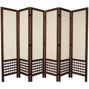 Oriental Furniture 67'' Tall Open Lattice Fabric 6 Panel Room Divider; Brown