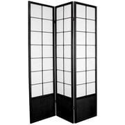 Oriental Furniture 70.25'' x 42'' Asian Zen 3 Panel Room Divider; Black