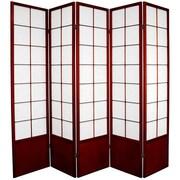 Oriental Furniture 70.25'' x 70'' Asian Zen 5 Panel Room Divider; Rosewood