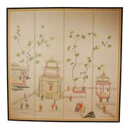 Oriental Furniture 72'' x 72'' The Pagoda Enter 4 Panel Room Divider