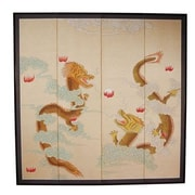 Oriental Furniture 72'' x 72'' Dragons Playing 4 Panel Room Divider