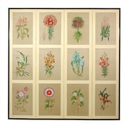 Oriental Furniture 72'' x 72'' Twelve Small Flowers Folding 4 Panel Room Divider