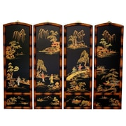 Oriental Furniture 36'' x 48'' Ching Wall Plaques 4 Panel Room Divider (Set of 4)