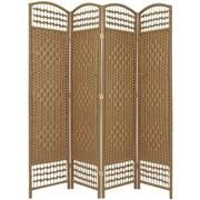 Oriental Furniture 67'' x 51'' Weave 4 Panel Room Divider; Natural