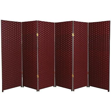 Oriental Furniture 84'' x 96'' 6 Panel Room Divider; Red / Black