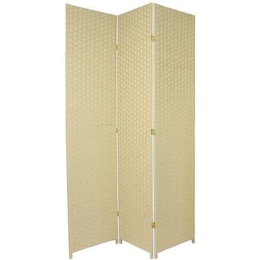 Oriental Furniture 84'' x 48'' 3 Panel Room Divider; Cream