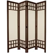 Oriental Furniture 67'' Tall Window Pane Fabric 4 Panel Room Divider; Brown