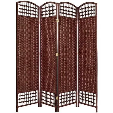 Oriental Furniture 67'' x 51'' Weave 4 Panel Room Divider; Dark Red