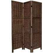 Oriental Furniture 67'' x 42'' Bamboo Tree Matchstick Woven 3 Panel Room Divider; Burnt Brown