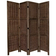 Oriental Furniture 67'' x 57'' Bamboo Tree Matchstick Woven 4 Panel Room Divider; Burnt Brown