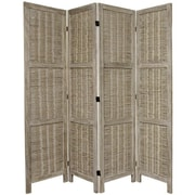 Oriental Furniture 67'' x 57'' Bamboo Tree Matchstick Woven 4 Panel Room Divider; Burnt Grey