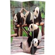 Oriental Furniture 71'' x 47.63'' Panda Bears 3 Panel Room Divider