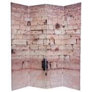 Oriental Furniture 70.88'' x 63'' Wailing Wall 4 Panel Room Divider