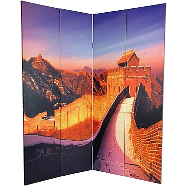 Oriental Furniture 70.88'' x 63'' Great Wall of China 4 Panel Room Divider