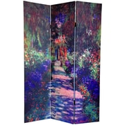 Oriental Furniture 72'' x 48'' Double Sided Works of Monet 3 Panel Room Divider II
