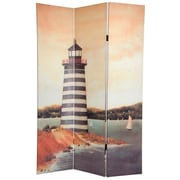 Oriental Furniture 72'' x 48'' Double Sided Lighthouses 3 Panel Room Divider