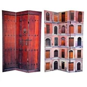 Oriental Furniture 72'' x 48'' Double Sided Doors 3 Panel Room Divider