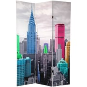 Oriental Furniture 70.88'' x 47'' Colorful New York Scene 3 Panel Room Divider
