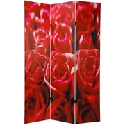 Oriental Furniture 70.88'' x 47'' Double Sided Roses 3 Panel Room Divider