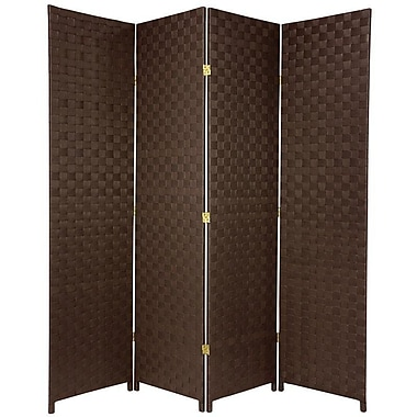 Oriental Furniture 71'' x 57'' All Weather 4 Panel Room Divider; Dark Brown