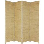 Oriental Furniture 71'' Tall Rush Grass Woven 4 Panel Room Divider; Natural
