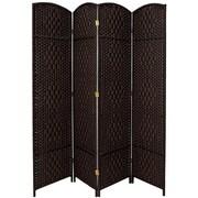 Oriental Furniture 82.75'' x 79'' Diamond Weave 4 Panel Room Divider
