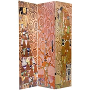 Oriental Furniture 71.25'' x 47.25'' Double Sided Works of Klimt Stoclet Frieze 3 Panel Room Divider
