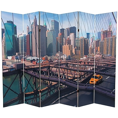 Oriental Furniture 71.25'' x 94.5'' Double Sided New York Taxi 6 Panel Room Divider