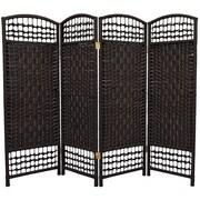 Oriental Furniture 47.25'' x 64'' Fiber Weave 4 Panel Room Divider