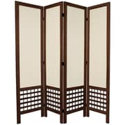 Oriental Furniture 67'' Tall Open Lattice Fabric 4 Panel Room Divider; Brown