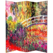 Oriental Furniture 70.88'' x 63'' Double Sided Works of Monet 4 Panel Room Divider