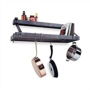 Enclume USA Handcrafted Gourmet Deep Bookshelf Wall Mounted Pot Rack w/ Shelf