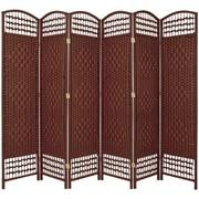 Oriental Furniture 67'' x 76'' Weave 6 Panel Room Divider; Dark Red
