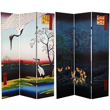 Oriental Furniture 71'' x 47.25'' Double Sided Hiroshige 3 Panel Room Divider