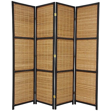 Oriental Furniture 70.75'' x 71'' Woven Accent 4 Panel Room Divider; Black