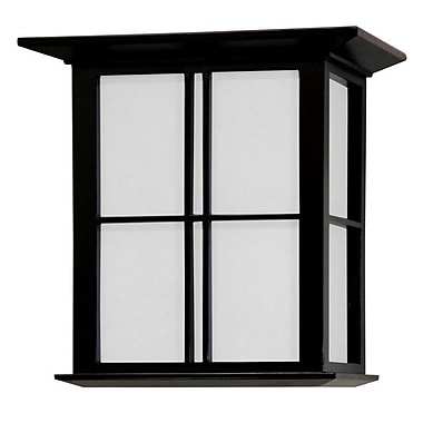 Oriental Furniture Japanese Cross Lattice 1-Light Flush Mount; Black